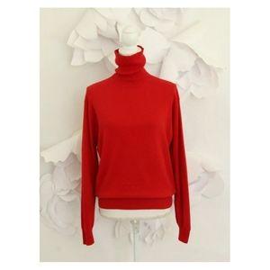 Valerie Stevens Cashmere Turtleneck Sweater L Red
